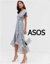 ASOS Flower Patterns Flared V-Neck Medium Short Sleeves