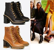 Tory Burch MILLER Mountain Boots Round Toe Rubber Sole Lace-up Casual Style
