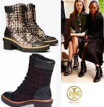 Tory Burch MILLER Other Check Patterns Mountain Boots Round Toe Rubber Sole