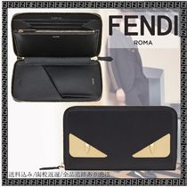 FENDI BAG BUGS Unisex Calfskin Street Style Bi-color Plain Long Wallets