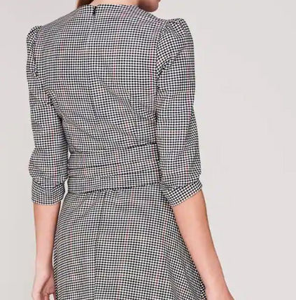 Crew Neck Wrap Dresses Other Plaid Patterns A-line Wool