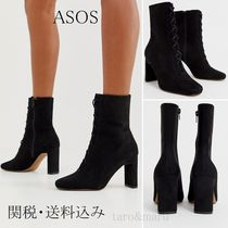ASOS Square Toe Lace-up Casual Style Suede Faux Fur Street Style