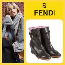 FENDI Plain Toe Round Toe Fur Blended Fabrics Plain Leather
