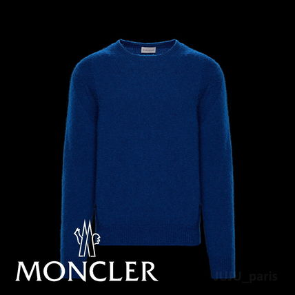 MONCLER Knits & Sweaters Crew Neck Wool Long Sleeves Plain Knits & Sweaters