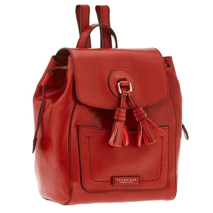 Casual Style Plain Leather Handmade Backpacks