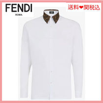 FENDI Long Sleeves Plain Cotton Shirts
