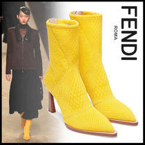 FENDI Flower Patterns Elegant Style Ankle & Booties Boots