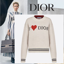 Christian Dior Heart Cashmere Blended Fabrics Long Sleeves Cashmere