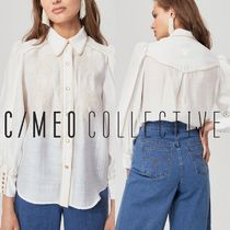 Cameo the Label Flower Patterns Linen Bi-color Medium Puff Sleeves