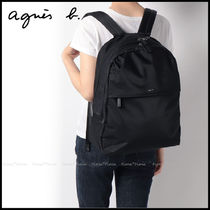 Agnes b Casual Style Unisex Nylon A4 Plain Logo Backpacks