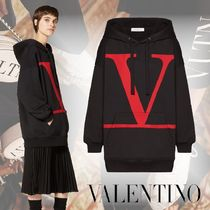 VALENTINO Street Style Long Sleeves Plain Cotton Medium Oversized Logo