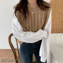 Cable Knit Casual Style Long Sleeves Plain Cotton Medium