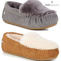 EMU Australia Moccasin Casual Style Sheepskin Plain Slip-On Shoes
