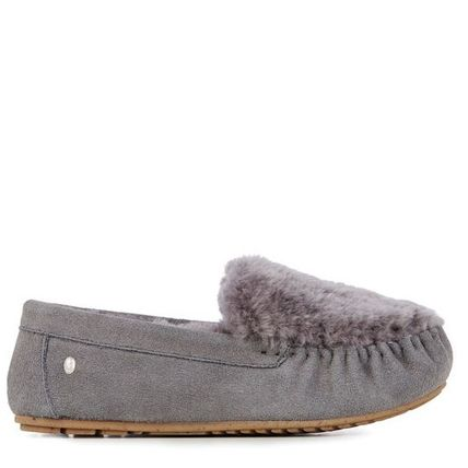Moccasin Casual Style Sheepskin Plain Slip-On Shoes