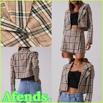 AFENDS Short Other Check Patterns Casual Style Street Style Jackets