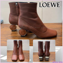 LOEWE Square Toe Casual Style Plain Leather Ankle & Booties Boots