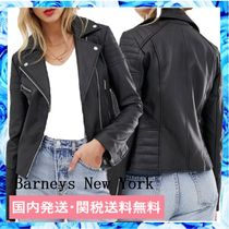 Barneys New York Street Style Plain Leather Medium Biker Jackets