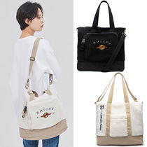 ROMANTIC CROWN Casual Style Unisex Street Style 2WAY Plain Totes
