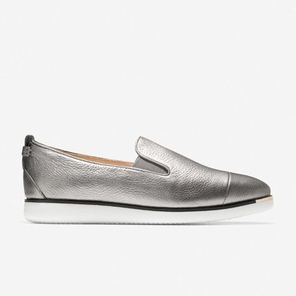 Casual Style Plain Leather Metallic Slip-On Shoes