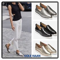 Cole Haan Casual Style Plain Leather Metallic Slip-On Shoes