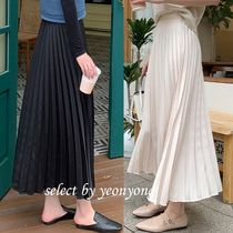 Pleated Skirts Plain Long Office Style Maxi Skirts