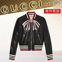 GUCCI Tropical Patterns Street Style Leather Biker Jackets