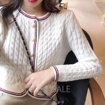 Crew Neck Cable Knit Casual Style Long Sleeves Medium Long