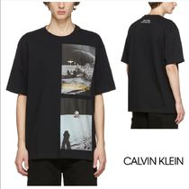 Calvin Klein Crew Neck Street Style Cotton Short Sleeves