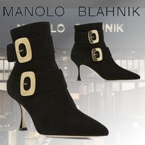 Manolo Blahnik Casual Style Suede Plain Pin Heels Ankle & Booties Boots