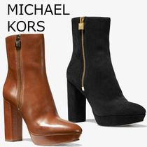 Michael Kors Platform Suede Plain Leather Elegant Style High Heel Boots