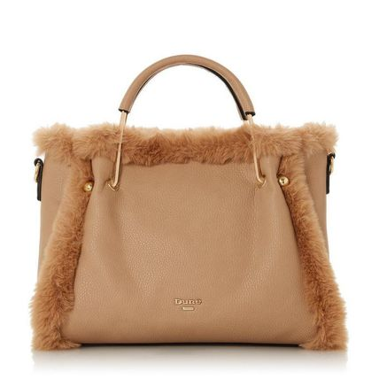 Casual Style Faux Fur Bag in Bag Plain Office Style