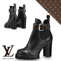 Louis Vuitton Studded Leather Elegant Style Ankle & Booties Boots