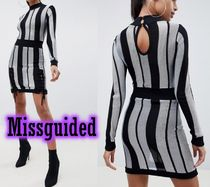 Missguided Stripes Tight Long Sleeves Medium High-Neck Elegant Style
