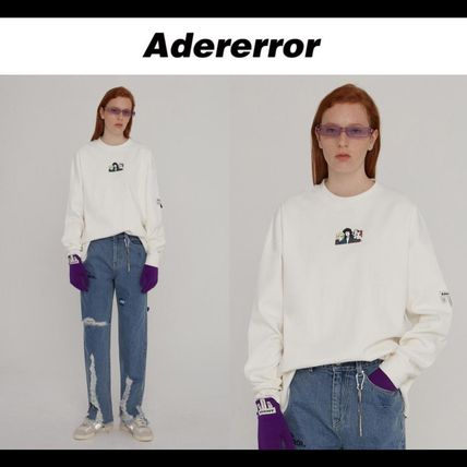 ADERERROR Long Sleeve Crew Neck Pullovers Unisex Street Style Long Sleeves Plain