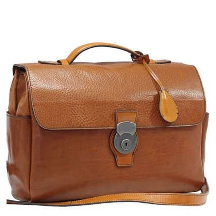 A4 3WAY Plain Leather Handmade Business & Briefcases