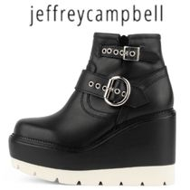 Jeffrey Campbell Platform Round Toe Casual Style Plain Leather Wedge Boots