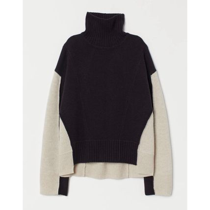 H&M 2019 20AW Wool Collaboration Bi color High Neck Sweaters