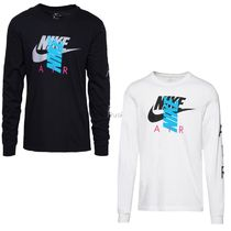 Nike Crew Neck Long Sleeves Cotton Logos on the Sleeves