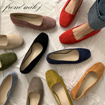 Suede Street Style Plain Office Style Pumps & Mules