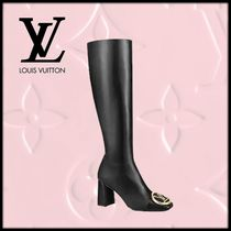 Louis Vuitton Square Toe Block Heels Elegant Style High Heel Boots