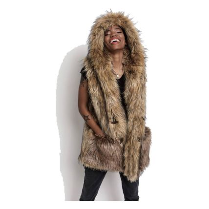 Casual Style Faux Fur Plain Medium Fur Vests Coats