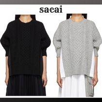 sacai Crew Neck Cable Knit Wool Blended Fabrics Long Sleeves Plain