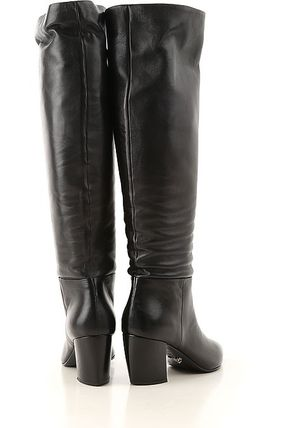 elegant shoes cheap price official site PRADA Leather Block Heels Over-the-Knee Boots (N/A)