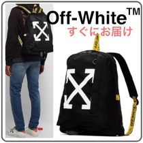 Off-White Unisex Street Style A4 Backpacks