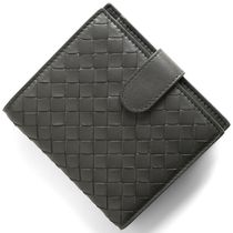 BOTTEGA VENETA Unisex Lambskin Plain Leather Folding Wallets