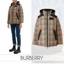 Burberry Other Check Patterns Unisex Nylon Street Style Down Jackets