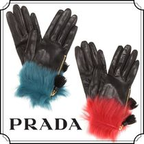 PRADA Plain Leather Special Edition Leather & Faux Leather Gloves
