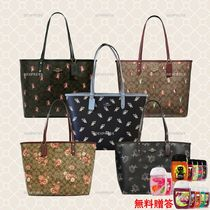 Coach Flower Patterns Leather PVC Clothing Totes