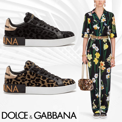 Dolce & Gabbana Leopard Patterns Casual Style Blended Fabrics Leather (CK1570AV26287530, CK1570AV2628B956)
