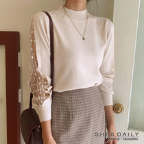 Casual Style Halter Neck Long Sleeves Cotton Medium